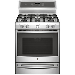 GE 30-inch 5.6 cu. ft. Single Oven Gas Range with Self-Cleaning Convection Oven in Stainless Steel