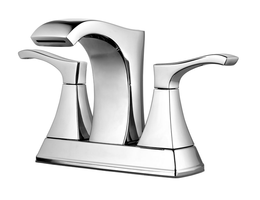 Venturi Centerset (4-inch) 2-Lever High Arc Waterfall-Flow Bathroom Faucet in Chrome