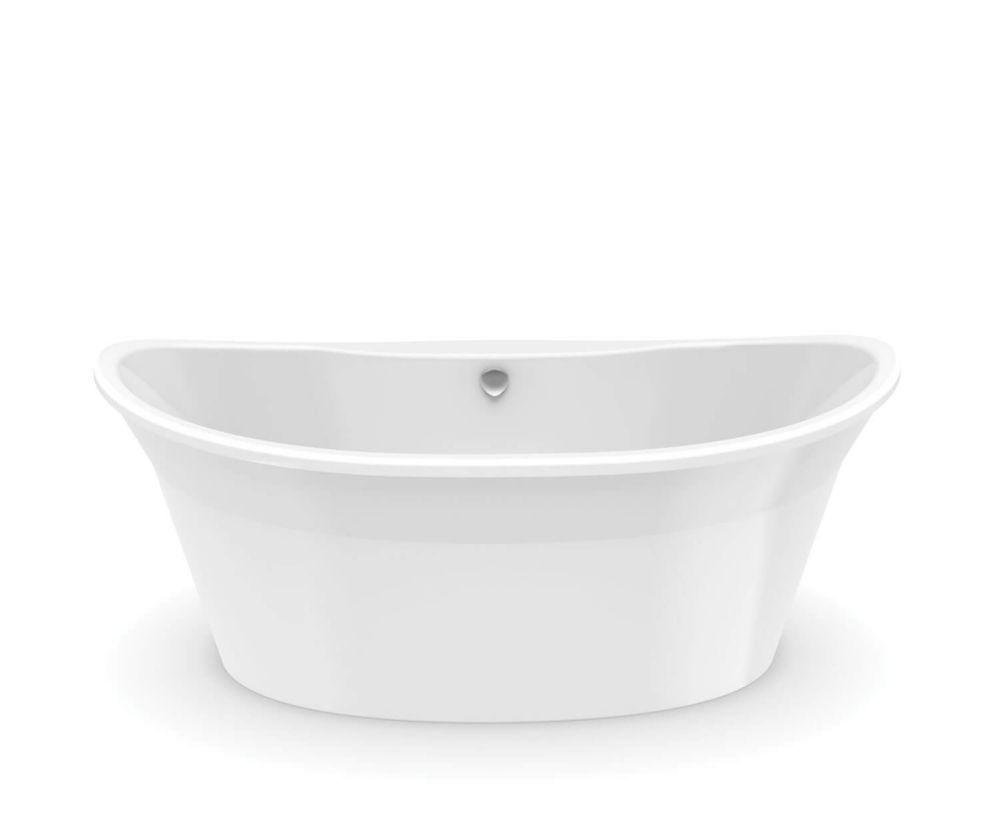 MAAX Orchestra 66-inch Fiberglass Centre Drain Non-Whirlpool Flat-bottom Freestanding Bathtub in White