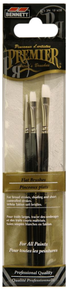 Flat Professional Artist Brushes - 3 Pack