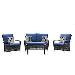 Hampton Bay Delaronde Dark Brown 4-Piece Wicker Patio Chat Set with Navy Cushions
