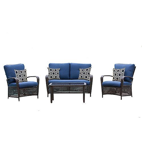 Delaronde Dark Brown 4-Piece Wicker Patio Chat Set with Navy Cushions
