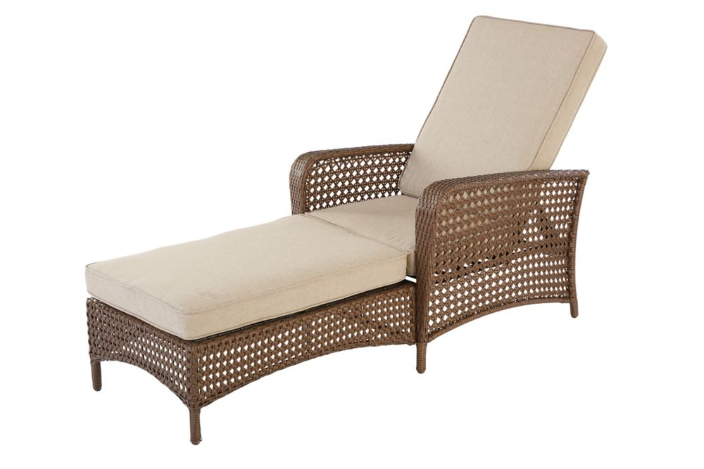 Hampton bay delaronde patio chaise lounger in beige the - Chaise tissu beige ...