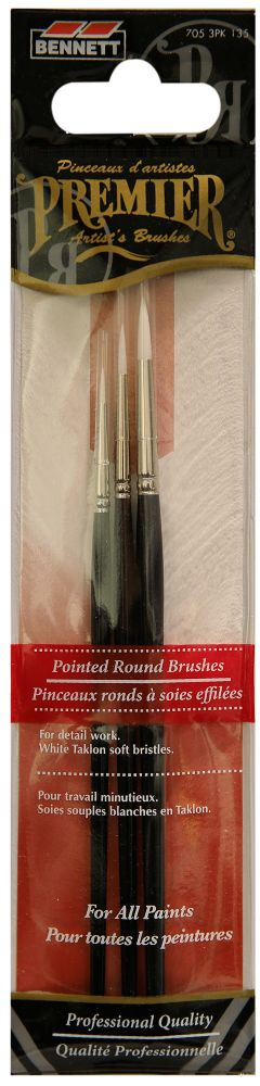 Round Professional Artist Brushes - 3 Pack