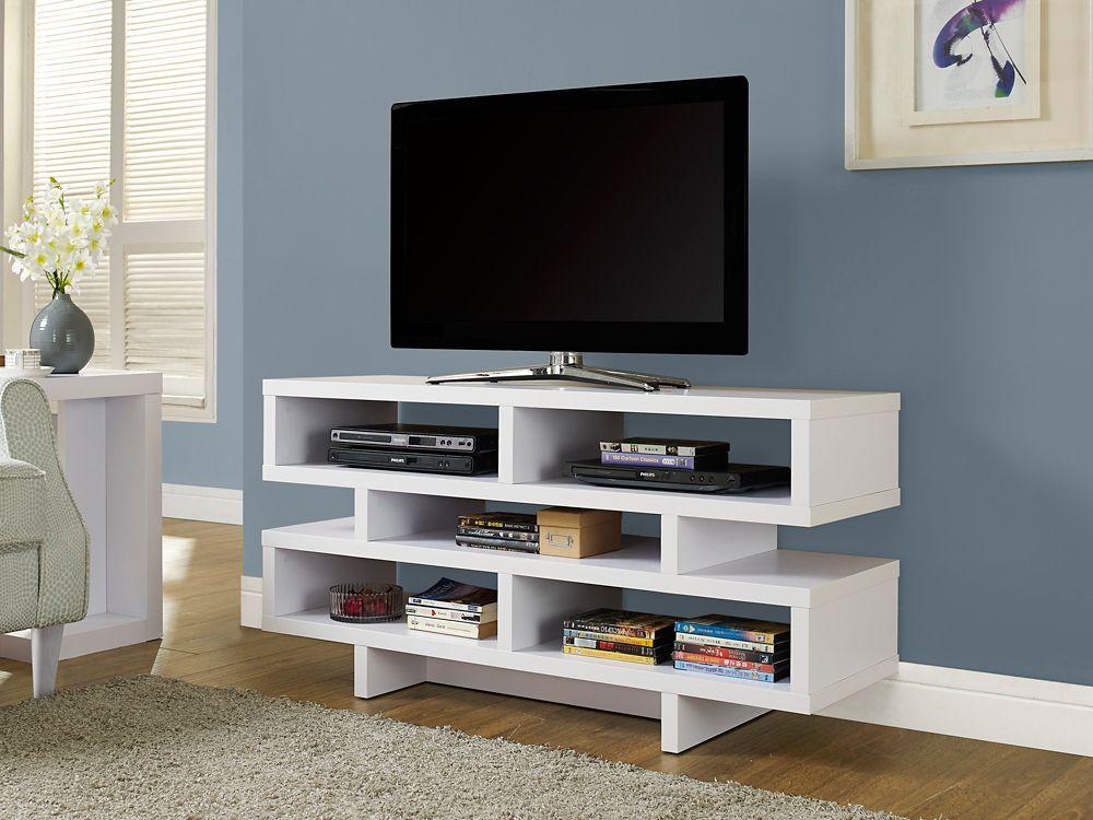 """White Hollow-Core 48""""L Tv Console"""