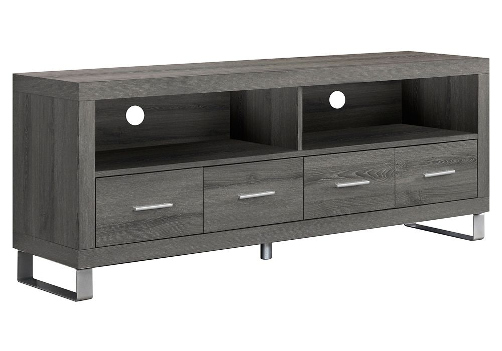 """Dark Taupe Reclaimed-Look 60""""L Tv Console With 4 Drawers"""