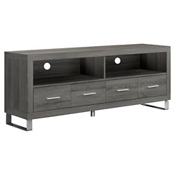 "Monarch Specialties Dark Taupe Reclaimed-Look 60""L Tv Console With 4 Drawers"