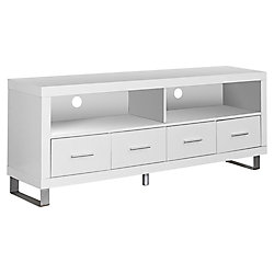 "Monarch Specialties White Hollow-Core 60""L Tv Console With 4 Drawers"