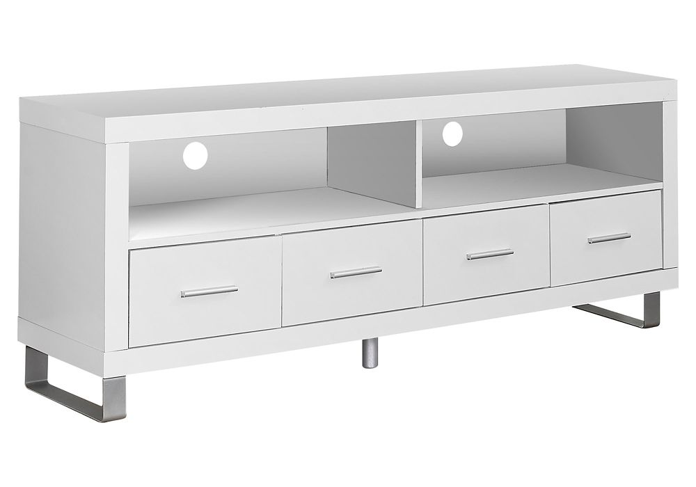 """Monarch Specialties White Hollow-Core 60""""L Tv Console With 4 Drawers"""