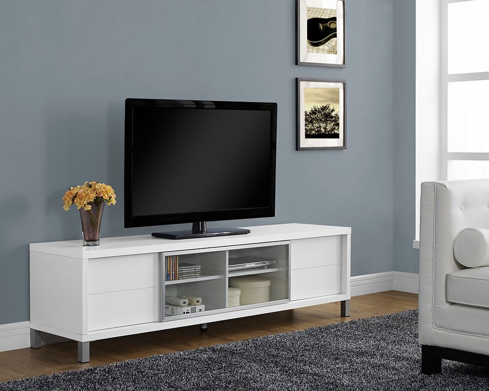 """Monarch Specialties White Hollow-Core 70""""L Euro Tv Console"""