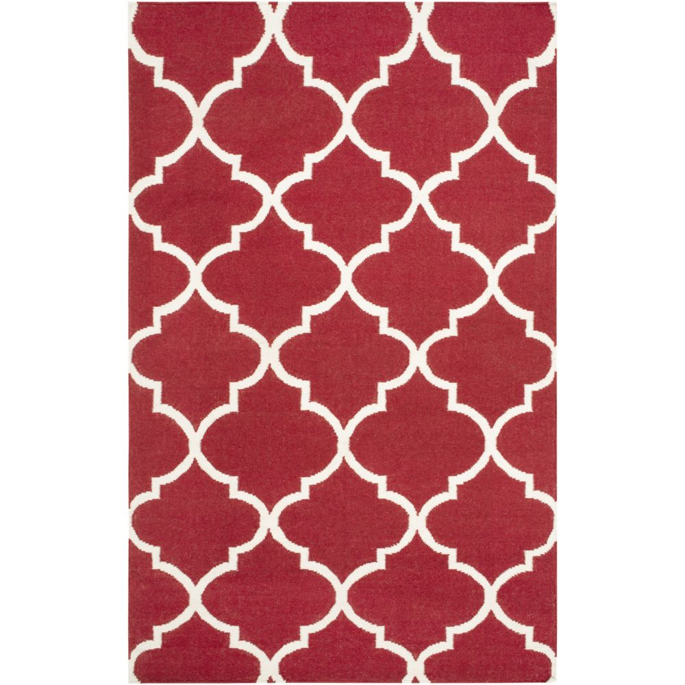 York Mallory 5Feet  x 8Feet  Red/White