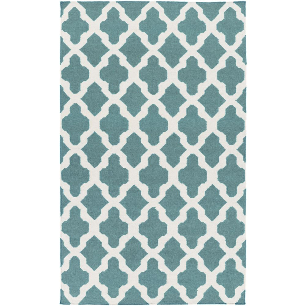 York Olivia 5Feet  x 8Feet  Teal/White