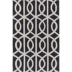 Artistic Weavers Carpette d'intérieur, 5 pi x 7 pi 6 po, style contemporain, rectangulaire, noir Holden Zoe