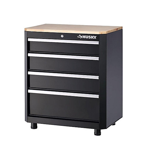 28-inch 4-Drawer Base Garage/Workshop Cabinet in Black
