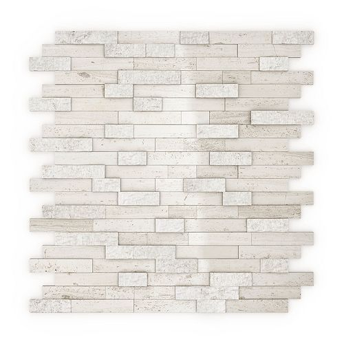 SpeedTiles Himalayan 11.77-inch x 11.57-inch Marble Self-Adhesive Wall Mosaic Tile