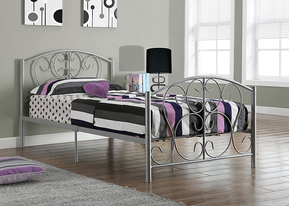 Twin Bed Frame.Bed Twin Size Silver Metal Frame Only