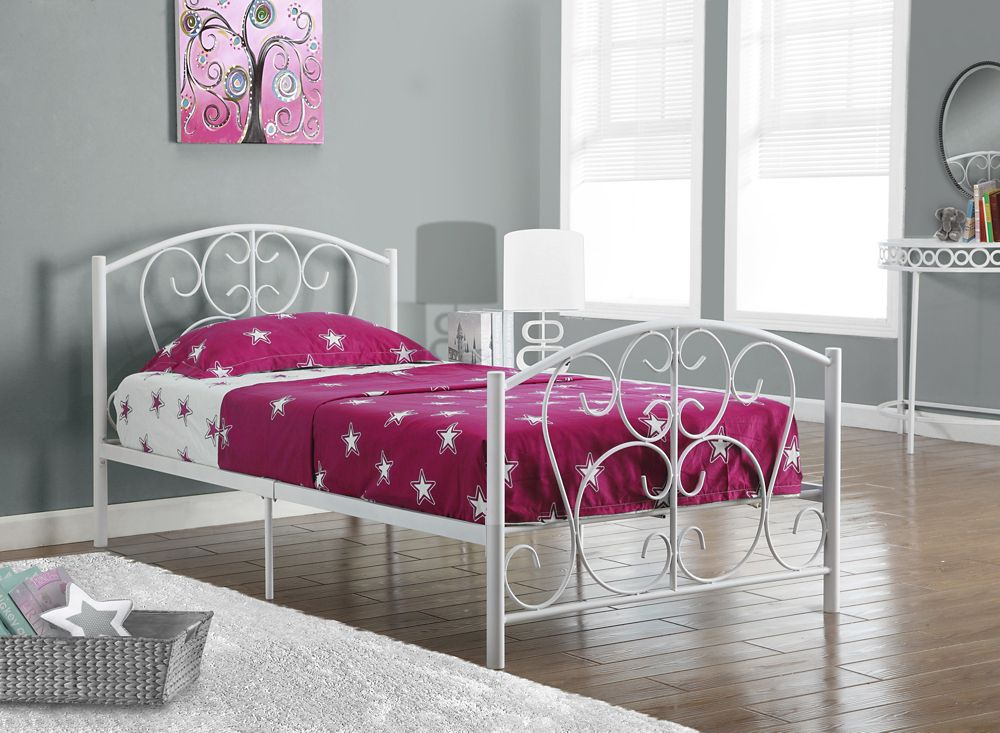5d4dd8905173e Monarch Specialties Bed - Twin Size   White Metal Frame Only