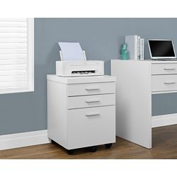 Monarch Specialties 3-Drawer Manufactured Wood Filing Cabinet in White