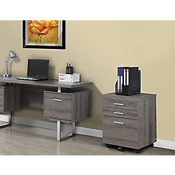Monarch Specialties Filing Cabinet - 3 Drawer / Dark Taupe On Castors
