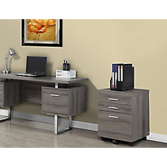 3-Drawer Manufactured Wood Filing Cabinet in Grey
