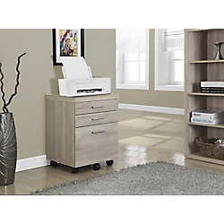 Monarch Specialties 3-Drawer Manufactured Wood Filing Cabinet in Natural