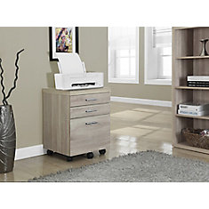 3-Drawer Manufactured Wood Filing Cabinet in Natural
