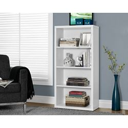 Monarch Specialties 4-Shelf Manufactured Wood Bookcase in White