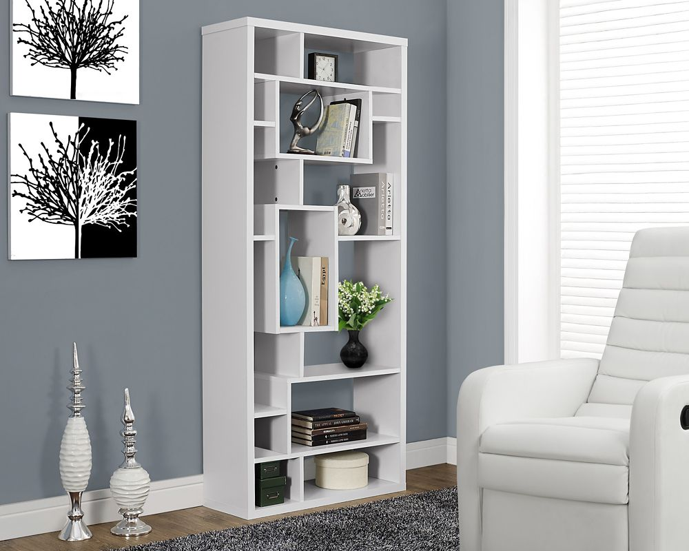 Monarch Specialties Manufactured Wood Cubed Bookcase in White