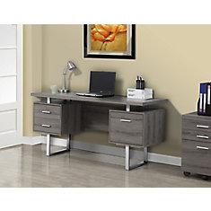 Computer Desk - 60 inch L / Dark Taupe / Silver Metal