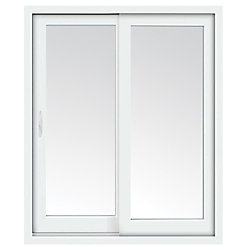 Stanley Doors 72 inch x 80 inch Clear LowE Argon Prefinished White Left-Hand Vinyl Sliding Patio Door - ENERGY STAR®