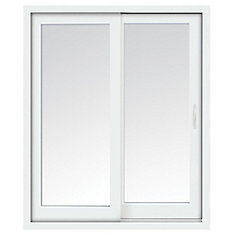 59 inch x 80 inch Clear LowE Argon Prefinished White Right-Hand Vinyl  Sliding Patio Door - ENERGY STAR®