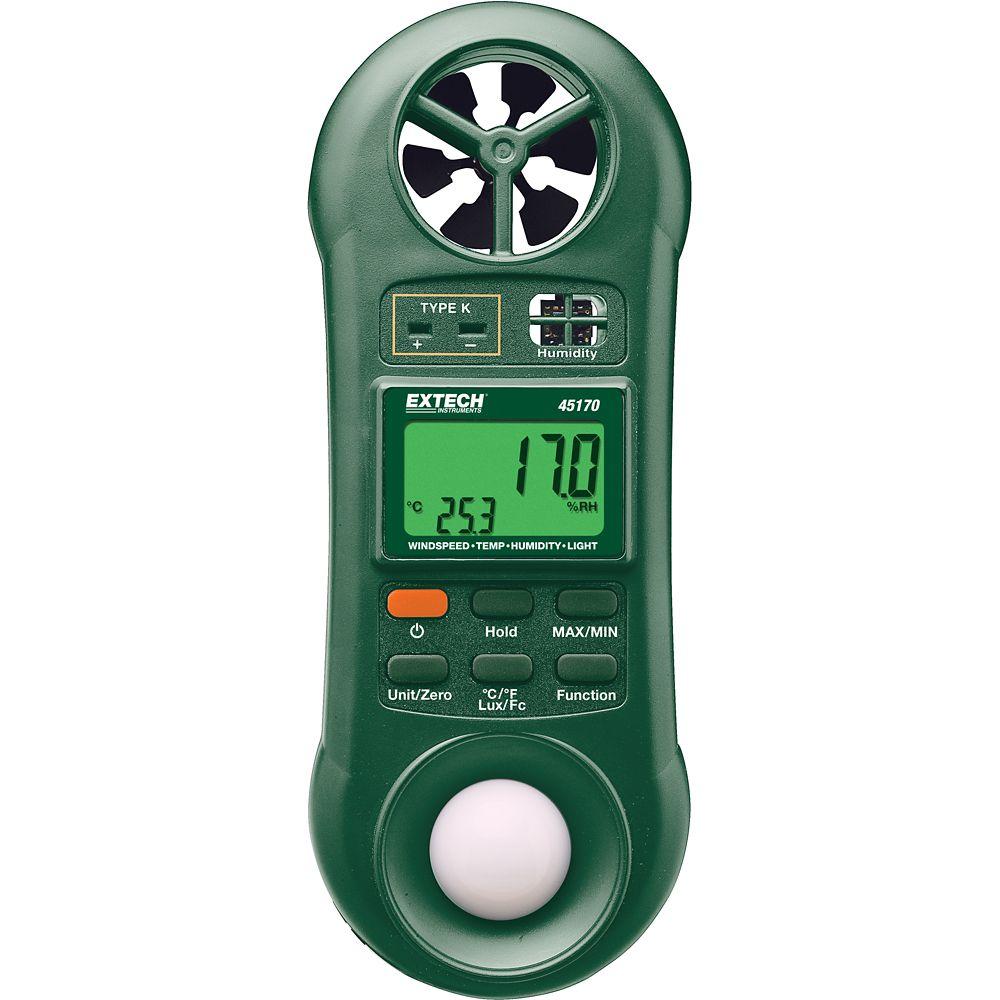 Hygro-Thermo-Anemometer-Light Meter