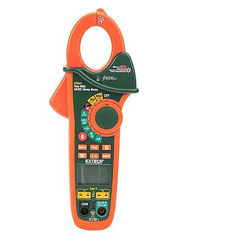 Extech Instruments Pince ampèremétrique 400Ampères AC/DC double entrée avec détecteur de tension sans contact et thermomètre IR