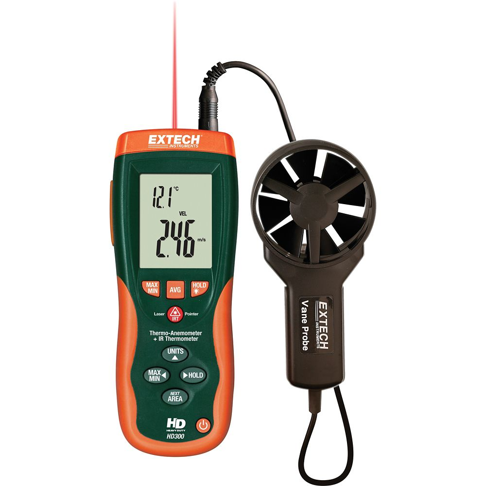 Extech Instruments CFM/CMM Thermo-Anemometer with built-in InfaRed Thermometer