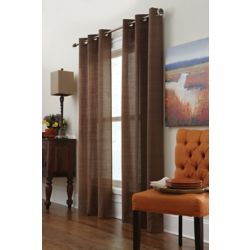 Home Decorators Collection Brown Poly/Cotton Ribbed Texture Curtain - 42-inch x 108-inch with Grommets in Antique Brass