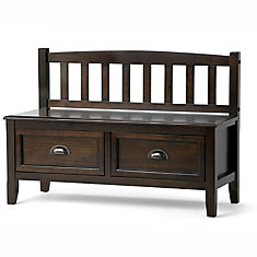 Burlington 46-inch x 11.2-inch x 21-inch Solid Wood Frame Bench in Brown