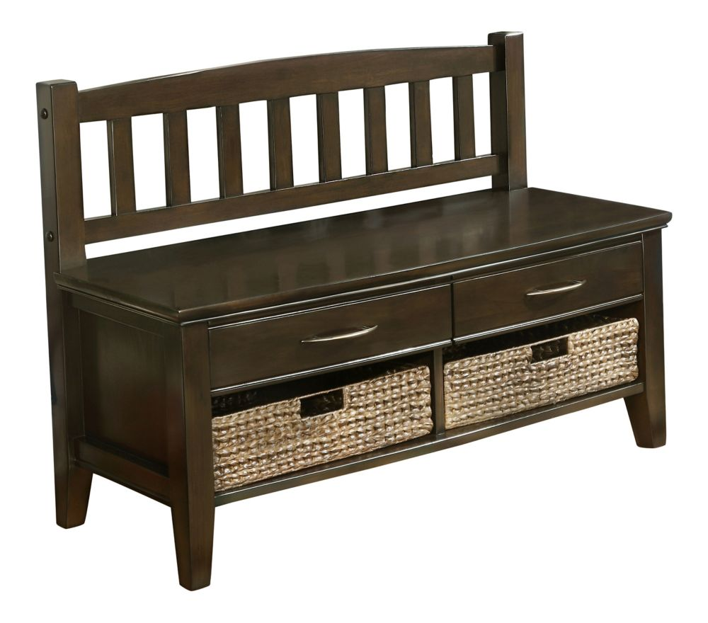 simpli home banc de rangement dentr e willamsburg avec tiroirs et cubes brun noyer home depot. Black Bedroom Furniture Sets. Home Design Ideas