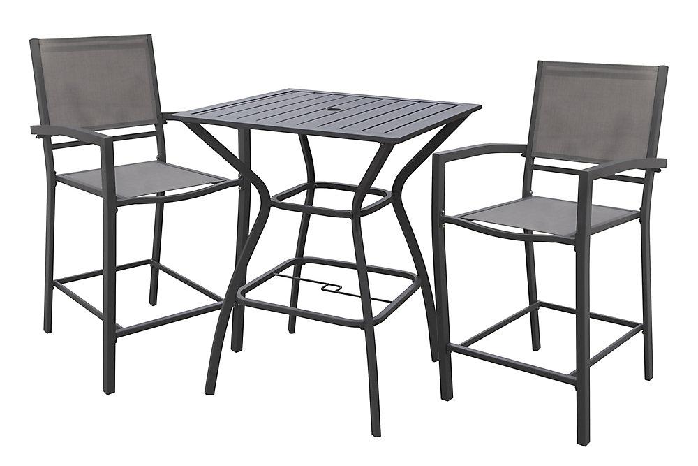 Chaise haute pour table de jardin White Rock, gris, ens. de 2