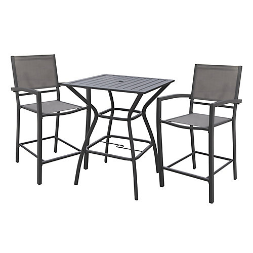 White Rock High Patio Dining Chair in Grey (2-Pack)