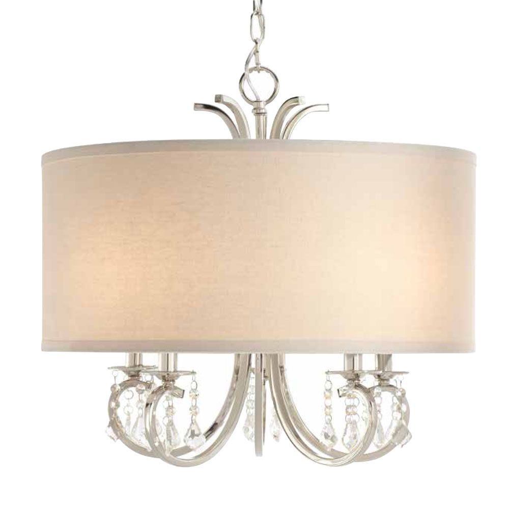 Home Decorators Collection 5-Light 40W Polished Nickel Chandelier with White Linen Drum Shade and Dangling Glass Beads