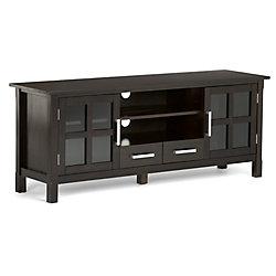 Simpli Home Kitchener 64.4-inch x 9.64-inch x 22.2-inch TV Stand in Walnut