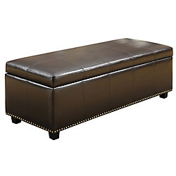 Kingsley 48.8-inch x 17.3-inch x 22-inch Faux Leather Ottoman in Brown