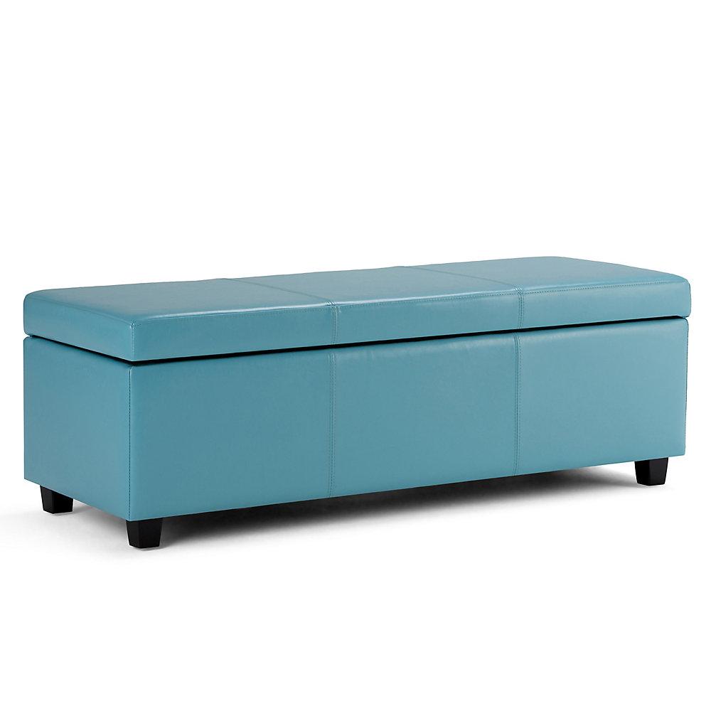 Pouf Avalon, 48,8po x 15po x 18,9po, similicuir, bleu