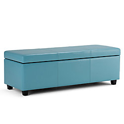 Avalon 48.8-inch x 15-inch x 18.9-inch Faux Leather Ottoman in Blue