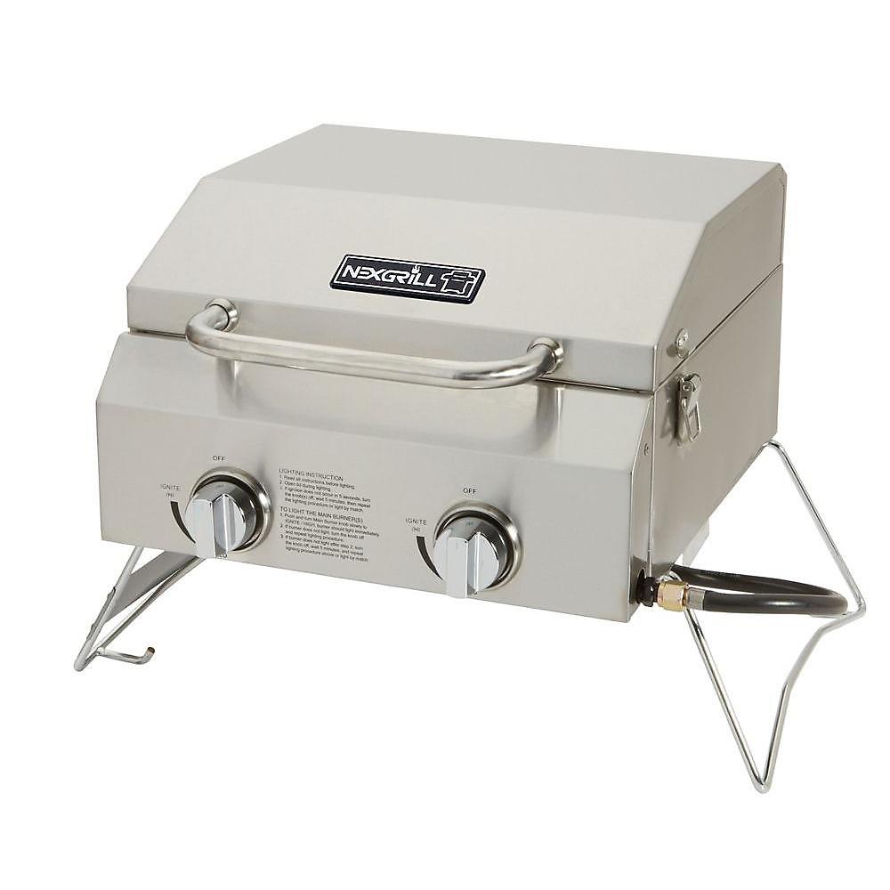 Barbeque Portable à 2 Brûleurs en Acier Inoxydable
