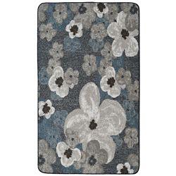 Lanart Rug Flowers Grey 2 ft. x 4 ft. Rectangular Mat