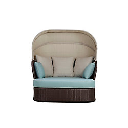 Hampton Bay Deerfield All-Weather Wicker Patio Day Bed with Blue Cushions
