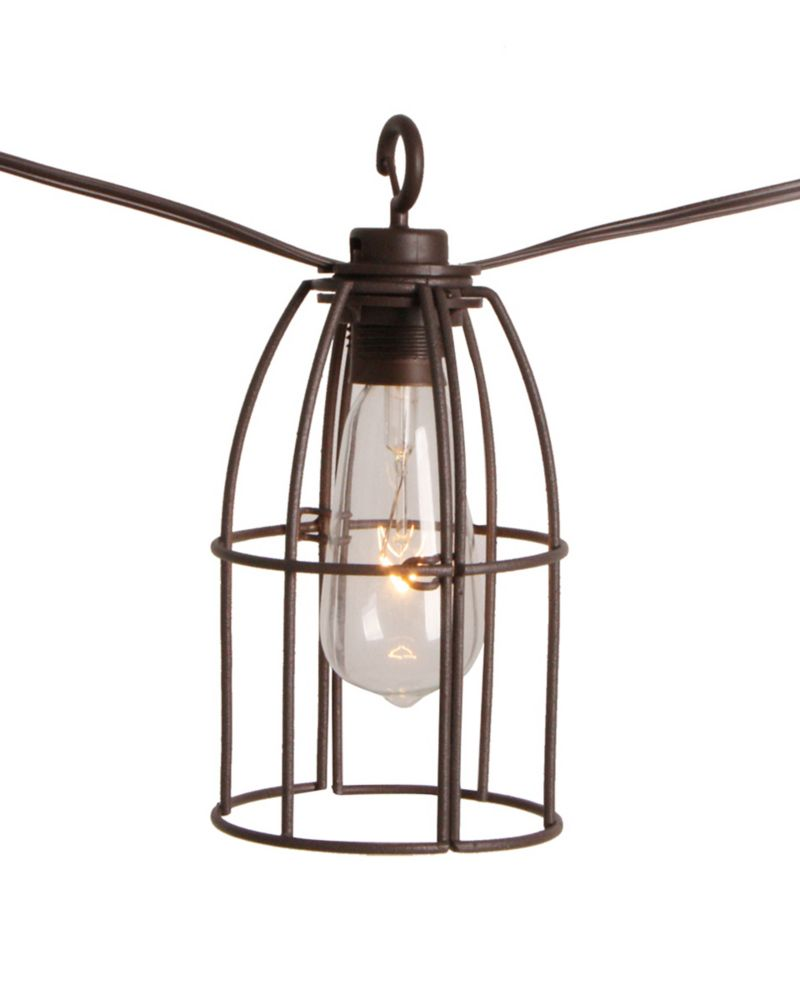 Patio String Lights Home Depot: The Home Depot Retro Caged Café String Lights-8l