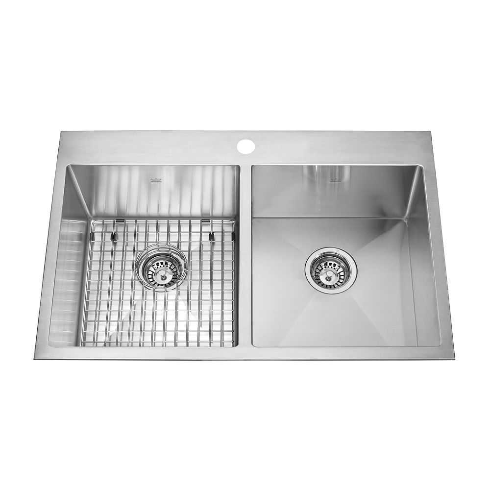 18 Gauge SS hand fab double dualmount kitchen sink, 12 mm radius, 1-hole