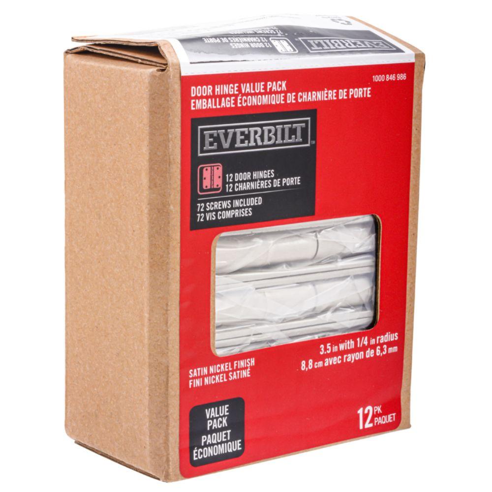 3.5-inch Satin Nickel 1/4rd Door Hinge (12 Pack)